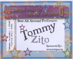 Tommy Zito Lehigh Valley 2008 Best All Around Performer Award