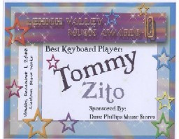 Tommy Zito Lehigh Valley 2008 Best Keyboard Player Award